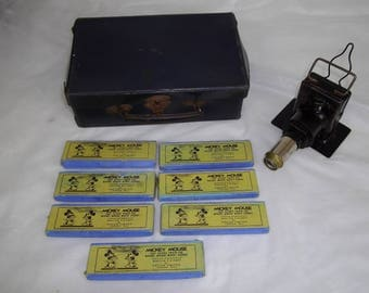Magic lantern cased, Disney 1930, ensign , Childs projector, Mickey mouse