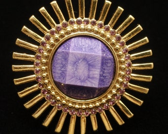Kate Spade Starburst Ring with Purple Stone Size 7