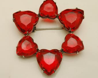 Circle Pin with Heart Shaped Red Stones Vintage
