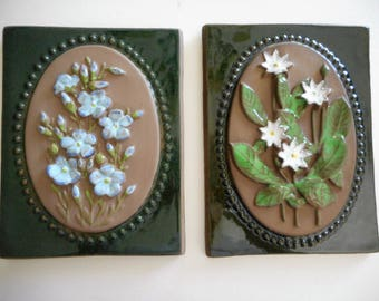 A Pair of JIE Gantofta Swedish Floral Tiles/Plaque #888 and #878
