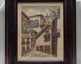 Old Signed Reyes Hacienda Architectural Watercolor Painting in Vintage Wooden Frame