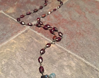 Garnet Rosary with Labradorite Onion Charms