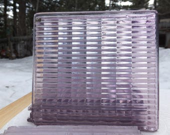 Vintage Salvaged Luxfer Purple Glass Ribbed Sawtooth Tiles