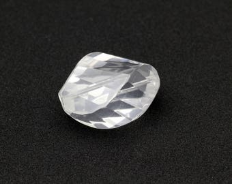 Faceted Twisted Oval Rock Crystal Stones Center Drilled 18x22x30mm 1pc