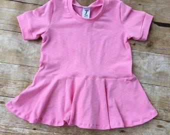 Piper Peplum, peplum top, long sleeve, solid color, girl shirt, toddler shirt, short sleeve top