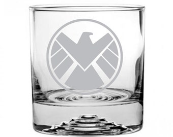 Shield Etched Rocks Glass Personalized
