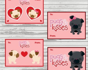 Pugs and Kisses Customized DIGITAL Valentine (4 per sheet)