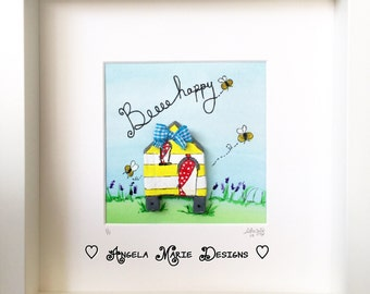 Bee hive 'Beeeee Happy' original mixed media artwork.