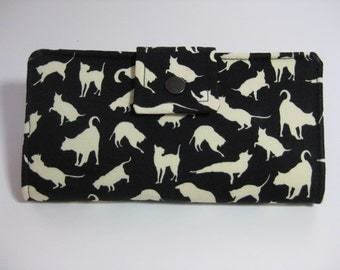 Cat Wallet, Bifold Clutch, Handmade Ladies Wallet  in Black with Cream Cats.