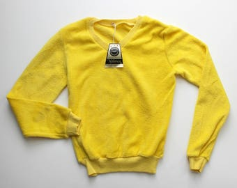 FRENCH VINTAGE 70's / for kids / sweater / long sleeves top / bright yellow terrycloth / new old stock / size 8 years