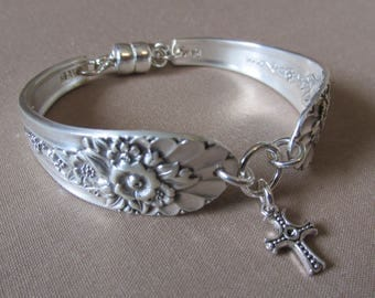 Silver Spoon Bracelet, JUBILEE c. 1953, Cross Charm, Magnetic Clasp, Silverware Jewelry, Repurposed Silver, Gift for Her