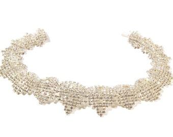 "Vintage Czech 16"" crystal rhinestone silver tone geometric choker necklace 14-33"