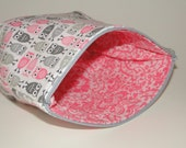 Pink and Gray Owls Makeup Bag