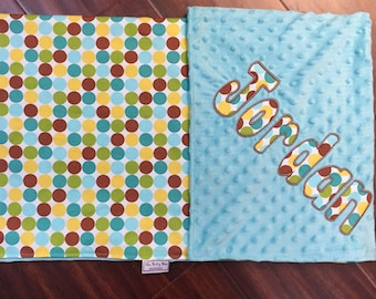 "Teal & Brown Polka Dot Minky Blanket with Appliqued Name 30""x36"""