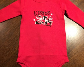 Valentine Shirt for boy or girl. Kisses 25 Cents - Sizes NB-5T
