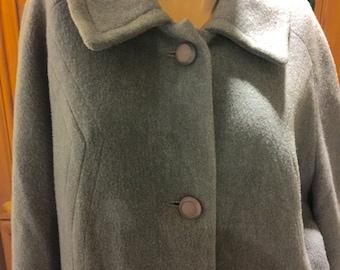 Blue Wool Vintage Kitschy Mid Century Secretary Librarian Minimalist 50s 60s Jackie O Coat L