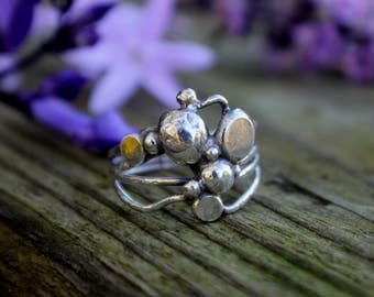 Friends Ring, Silver Balls, Unique ART Ring, Sterling Silver Abstract Ring, Silver Raindrops, BUBBLES, Boho Chic, Finger Art, OOAK
