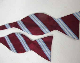 Bow Tie 1960 Mad Men Bow tie Red Burgundy Stripe Brooks Brothers