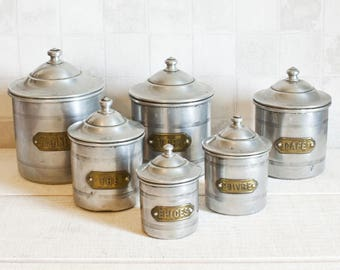 Set of 6 Authentic French Vintage Aluminum Canisters - Country and Farmhouse Decor - Home Decor Box - Industrial style