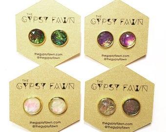 Opalescent Large Stud Earrings