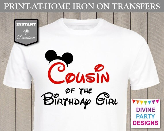Instant download print at home red mouse cousin of the for Free t shirt transfer templates