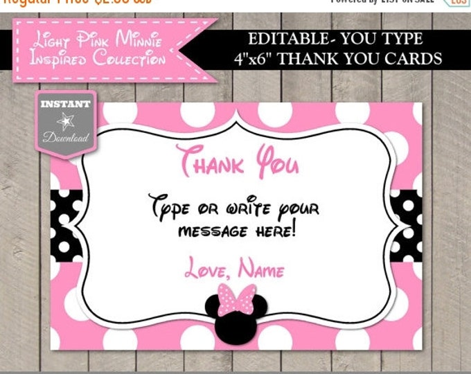 SALE INSTANT DOWNLOAD Editable Light Pink Mouse 4x6 Printable Thank You Card / You Type Name / Light Pink Mouse Collection / Item #1819