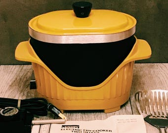 Vintage Harvest Gold Slow Cooker, Deep Fryer & Fondue, Montgomery Ward, 2 Quart, in Box - Like New, Never Used!