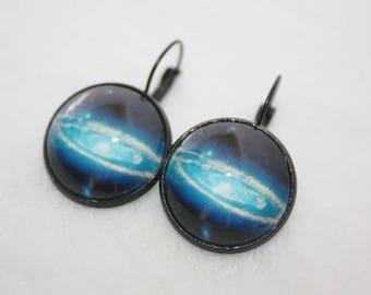 Blue Galaxy Earrings, Space Earrings, Black Dangle Earrings, Cosmic Earrings, Fantasy Art, Astronomy Jewelry, Science gifts, Black Jewellery