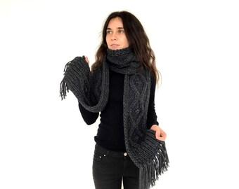 Knit scarf, winter scarf, chunky scarf, charcoal grey scarf, wool scarf, scarf with fringe