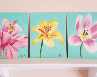Floral oil painting set. Pink Colombine, Yellow Daylily, Pink and White open Tulip