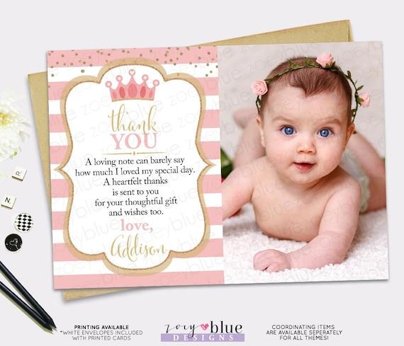 Princess Thank You Card Pink Gold Princess Birthday Thank You Card