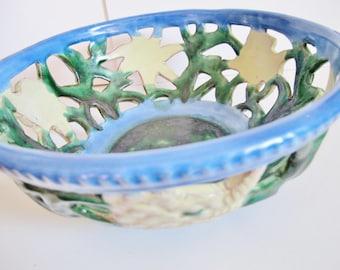 "Vint Austrian CERAMICS, EDELWEISS Bowl, 10"" diameter, Reticulated,  Blue, Green, White"
