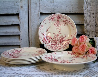 Antique french red transferware dessert plates with small cake stand. Footed cake plate. Dessert service. Tea plates. Jeanne d'arc living
