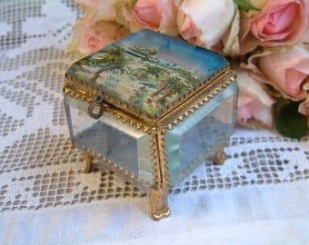 Antique french beveled glass jewelry box.Trinket box. Rosary jewel box. Beveled glass jewelry box. French glass souvenir box. Vanity Boudoir