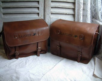 Set of 2 French vintage genuine leather large model postal bike panniers. Leather bike panniers Scooter Motorcycle panniers. Messenger bag.