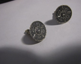 Cufflinks Mayan / Aztec Calendar Sterling Tops are marked Bertha Mexico 925 mark