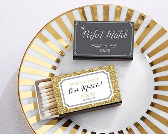 SET of 50 Personalized Wedding Matchboxes, A Perfect Match, Custom Wedding Matches (28257WD)
