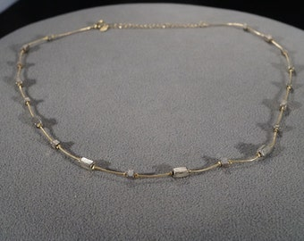 Vintage Art Deco Style Yellow Gold Tone Silver Tone Necklace Rectangular Jewelry -K#13
