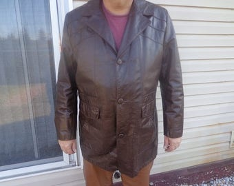 Mans 1970s vintage brown 3 button vintage leather jacket,coat by Sears size 50 big tall,rare size