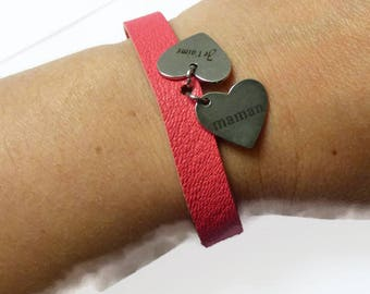 Coral Leather bracelet, Handmade unique bracelet stamped with french words, gift idea for the mother of my children, for my lovely wife
