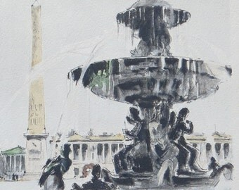 Original 1940's Franz Herbolet Watercolor Paris Scene