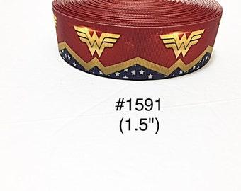 "3 or 5 yard - 1.5"" Super Hero Wonder Woman Star Motif Grosgrain Ribbon Hair bow"