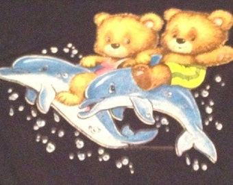 Kid's T Shirt Teddy Bears & Dolphin Ride Toddler 2 T Youth Child's Children's