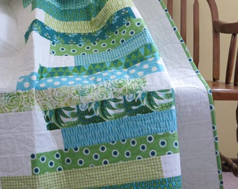Mod Teal/Green Stripe Lap Quilt