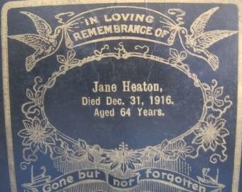 Vintage 1916 Death Remembrance Cabinet Card Funeral Keepsake