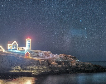 Starry Skies over the Nubble Lighthouse, Nubble Lighthouse, Nubble Light, Christmas, Stars, Night,
