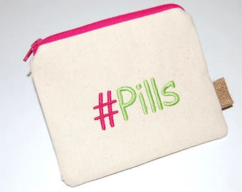 Pill Pouch, Coin Pouch, Pill Holder, Medication Pouch, Zipper Pill Purse, Canvas Pouch, Embroidered Pouch, Medicine Holder, Pill Storage