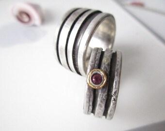 Wedding rings with Ruby Silver Gold Breit Weddingband