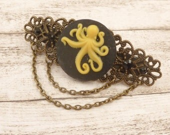 Small octopus hairclip, steampunk hair jewelry, cameo hair accessory, black bronze, sea, filigree, gift idea girl