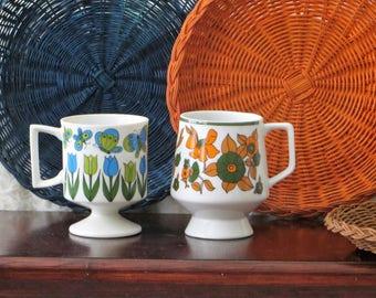 Vintage Ceramic Retro Mod Floral Print Pedestal Mugs Set of 2 Coffee, Tea Cups